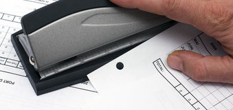 Desktop hole punch Stock Photo