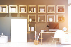 Desktop, home office, poster, gray, toned Royalty Free Stock Photo