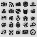 Desktop icons pen shading effect sets Royalty Free Stock Photography