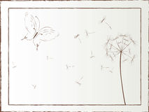 Desktop illustration with butterfly and dandelion Royalty Free Stock Images
