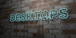 DESKTOP - Insegna al neon d'ardore sulla parete del lavoro in pietra - 3D ha reso l'illustrazione di riserva libera della sovrani Immagine Stock
