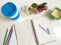Desktop items notebook Royalty Free Stock Images