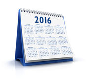 Desktop kalendarz 2016 Obrazy Royalty Free