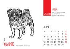 Desktop kalendarza strona dla 2018 z wizerunkiem pies Zdjęcie Stock
