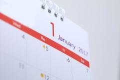Desktop kalendarzowy pusty rozkład 1 2017 Styczeń Zdjęcie Stock