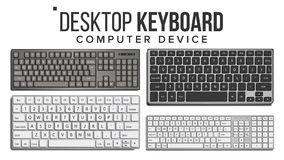 Desktop Keyboard Set Vector. Wireless Modern Plastic Tool. Top View. Isolated On White Illustration. Desktop Keyboard Vector. 3D Realistic Classic Computer Stock Images