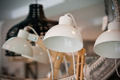 Desktop lamps on sale. New desktop lamps on sale at home decorations shop Stock Photo