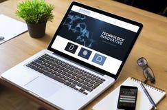 Desktop laptop white screen innovative Royalty Free Stock Image