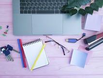 Desktop laptopu widok od above różowy drewniany plantempty Zdjęcia Stock