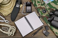 Desktop With Large Group Of  Objects For Travel, Expedition, Exp Royalty Free Stock Images