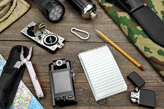 Desktop With Large Group Of  Objects For Travel, Expedition. Rough Wood Desktop With  Objects For Travel, Expedition, Exploration Or Hike Royalty Free Stock Photos