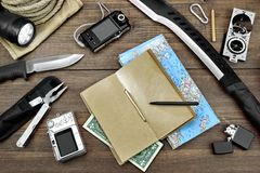 Desktop With Large Group Of  Objects For Travel, Expedition. Rough Wood Desktop With  Objects For Travel, Expedition, Exploration Or Hike Stock Image