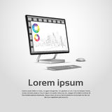 Desktop Logo Modern Computer Workstation Icon Monitor Financial Graph Diagram Infographic Stock Photography