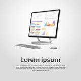 Desktop Logo Modern Computer Workstation Icon Monitor Financial Graph Diagram Infographic. Vector Illustration stock illustration