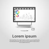Desktop Logo Modern Computer Workstation Icon Monitor Financial Graph Diagram Infographic. Vector Illustration Stock Photography