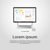 Desktop Logo Modern Computer Workstation Icon Monitor Financial Graph Diagram Infographic. Vector Illustration Royalty Free Stock Photography
