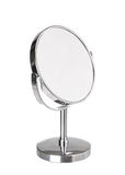 Desktop make up cosmetic mirror isolated on white Royalty Free Stock Photo