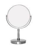 Desktop make up cosmetic mirror isolated on white. Background Stock Photo