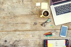 Free Desktop Mix On A Wooden Office Table. Royalty Free Stock Photo - 49423485