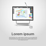 Desktop Modern Computer Graphic Designer Workplace. Vector Illustration Royalty Free Stock Images