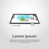 Desktop Modern Computer Graphic Designer Workplace Stock Photo