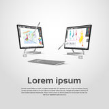 Desktop Modern Computer Graphic Designer Workplace. Vector Illustration Stock Images