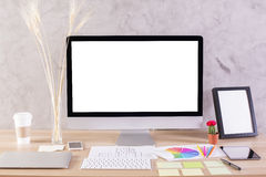 Desktop with monitor and frame Royalty Free Stock Photography