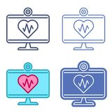 Desktop monitor with heart symbol. Telemedicine vector outline i. Desktop computer monitor and heart symbol with pulse line inside. Vector outline icon set vector illustration