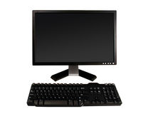 Desktop monitor and keyboard Royalty Free Stock Images
