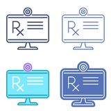 Desktop monitor with prescription symbol. Telemedicine vector ou Stock Photo
