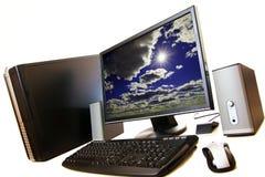 Desktop op witte achtergrond Stock Fotografie