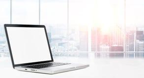 Desktop with panoramic view Stock Photo