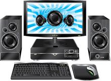 Desktop on pc. Desktop PC with speakers and desktop music theme Royalty Free Stock Photo