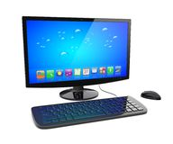 Desktop pc. Black desktop pc computer with keyboard and mouse, and a blue screen with colorful apps. Isolated on white. 3d rendered image Royalty Free Stock Images
