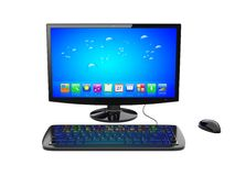Desktop pc. Black desktop pc computer with keyboard and mouse, and a blue screen with colorful apps. Isolated on white. 3d rendered image Stock Image
