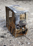 Desktop PC destroyed by fire. Stock Image