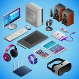 Desktop PC and digital gadgets in isometry stock illustration