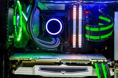 Desktop PC Gaming and liquid cooling cpu with LED RGB light show status on working mode stock images