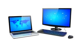 Desktop pc and laptop Royalty Free Stock Photo