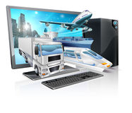 Desktop pc logistics concept Stock Images