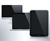 Desktop PC monitor, laptop PC and tablet PC Stock Image