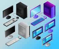Desktop pc realistico colorato nell'illustrazione isometry di vettore royalty illustrazione gratis