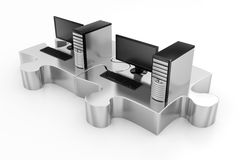 Desktop Pc,s and Silver Puzzles Royalty Free Stock Photos