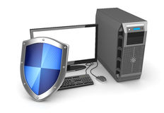 Desktop PC and shield. This is a computer generated and 3d rendered image Royalty Free Stock Images