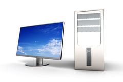 Desktop PC System. A Desktop PC System. 3D rendered Illustration. Isolated on white Royalty Free Stock Photo