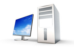 Desktop PC System. A Desktop PC System. 3D rendered Illustration. Isolated on white Royalty Free Stock Photos
