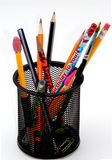 Desktop pencil holder. An isolated desktop pencil holder stock photography