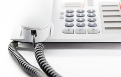Desktop phone. White modern enterprise desktop phone Stock Photos