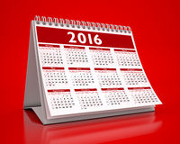 Desktop Red Calendar 2016 Stock Photo