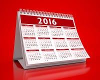 Desktop Red Calendar 2016. In red background Stock Photo